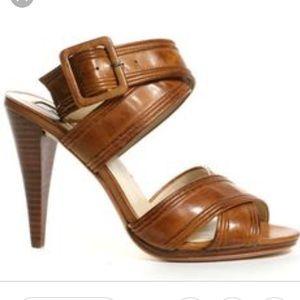 Max Studio Xchange Leather Heel Sandals 6.5 Brown